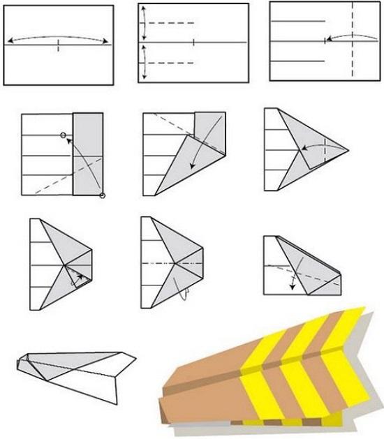 бумажный самолетик. Схема №3