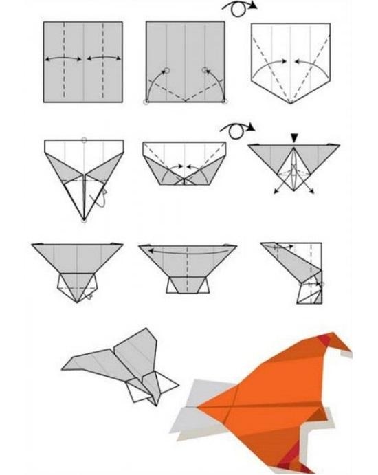 бумажный самолетик. Схема №4