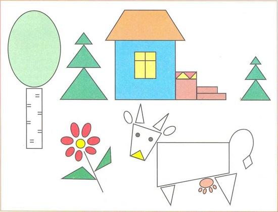 Рисунки из фигур для дошкольников