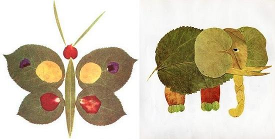 аппликации из сухих листьев