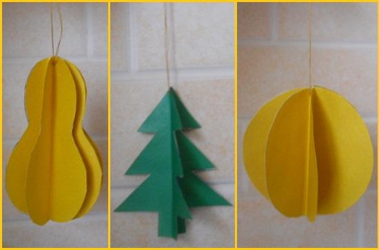 Елочные игрушки своими руками из бумаги легкие