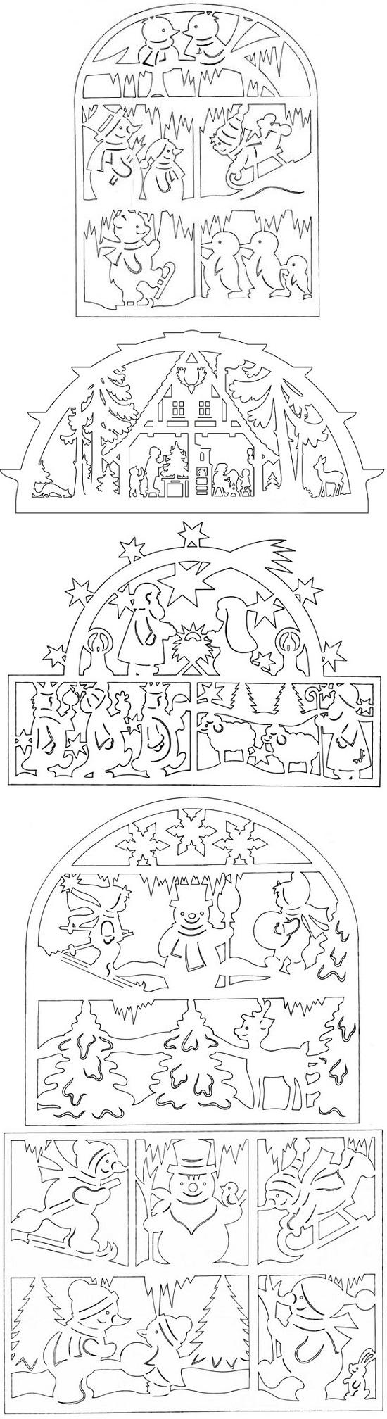 новогодние вытынанки на окна из бумаги