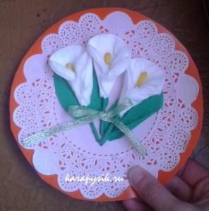 цветы из ватных дисков