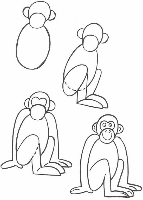 как нарисовать обезьяну поэтапно легко