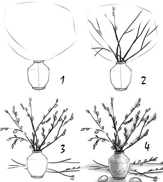 как нарисовать веточку вербы