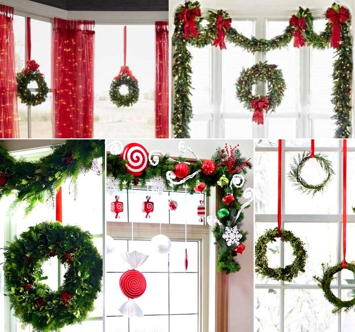 украшение окон к Новому году