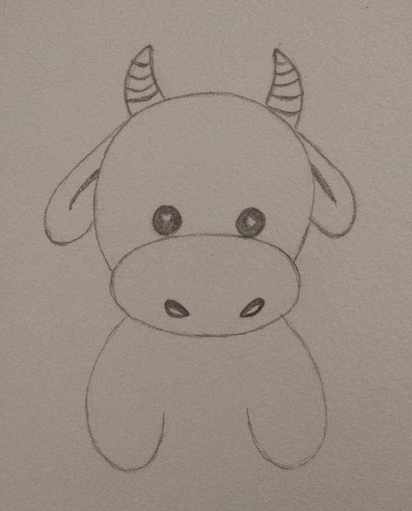 как нарисовать бычка символ 2021 года поэтапно